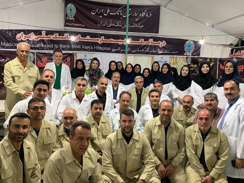 خدمت رسانی موکب درمانی بیمارستان بانک ملی ایران در مسیر زائران اربعین